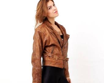 25% OFF Vintage Leather Jacket / Brown Soft Leather Jacket / Motorcycle Jacket Size 52 / Moto Jacket