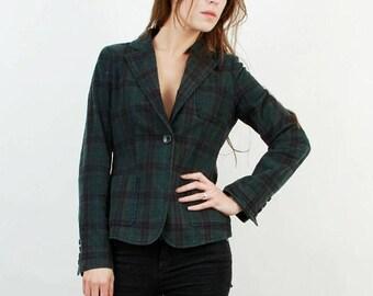 25% OFF Marlboro Blazer / 80s Plaid Blazer / Marlboro Jacket / Green Plaid Blazer / Large Blazer / Checkered Blazer /Classic Blazer /80s Bla