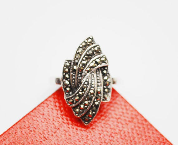 Sterling Ring  - Silver Swirl - Pyrite  Marcasite - Mexico Signed - size 7 1/2- Art Deco