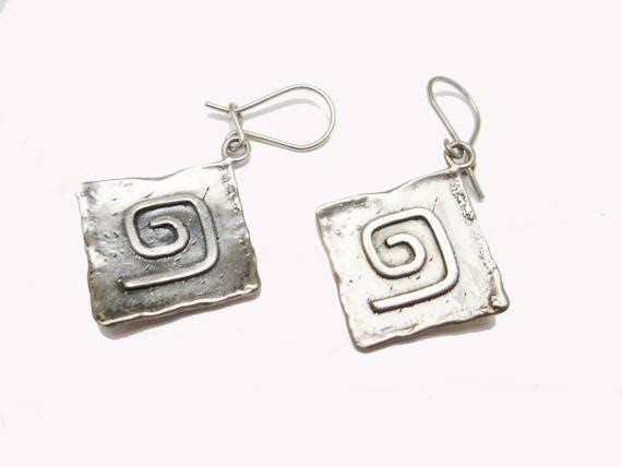 Sterling Silver Dangle Earrings - hammer Square - modernistic swirl earring