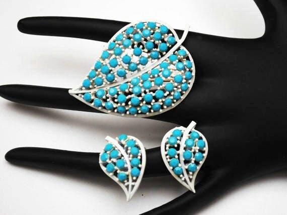 Lisner Leaf Brooch and earring Set -  Light turquoise  Blue - glass Rhinestone - white enamel Mid Century