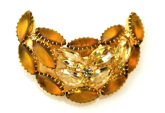 Crescent Rhinestone  Brooch - Amber Yellow Glass  Cabochon - open back gold - C shape pin