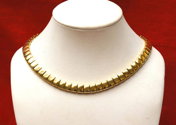 Napier Gold chain Necklace -Gold panel book chain - Collar choker