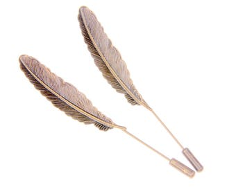 SET OF 2 pins brooches feather