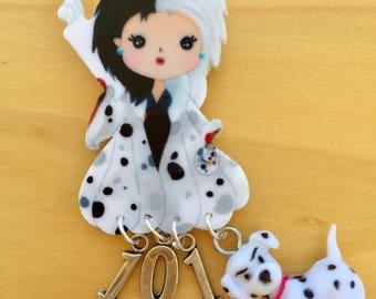 101 Dalmation Cruella Acrylic Brooch