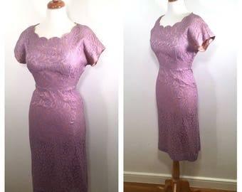 1960s Fitted Party Dress Vintage Purple Lace Midi Dress Lavender Wedding Guest Dress Garden Party Shift Dress Size Medium Rose Pencil Dress