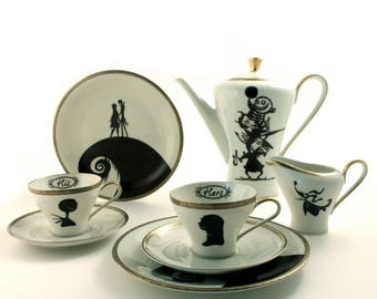 Wedding Gift Set for 2, Nightmare Before Christmas, His Hers, Sally Jack, Vintage Porcelain China Espresso Cups, Oogie's Boys, Tim Burton