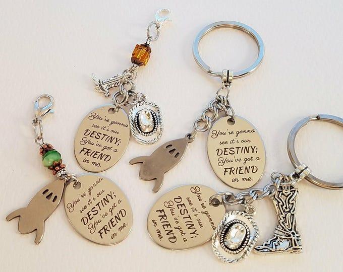 Toy Story Buzz Woody Zipper Charm Keychains You've Got a Friend in Me Our Destiny Valentine Anniversary Birthday Friendship Gift#2m19z1-4