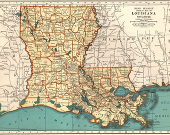 Louisiana Map Etsy - Map of lousiana