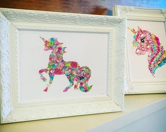 Unicorn gift framed unicorn picture swarovski button crystal decoration girls bedroom baby girl unicorn accessories new baby gift