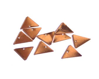 Pink 10 TRIANGLES 13 mm one hole in silver sequins