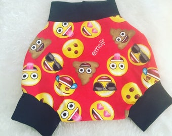 Emoji,Shorties, cotton diaper cover,  nb, size 3, 6, 9, 12, 24 months, 2T