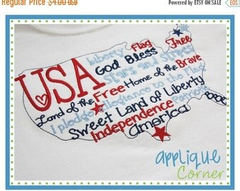 40% OFF INSTANT DOWNLOAD July 4th Usa United States Words design in digital format for embroidery machine by Applique Corner