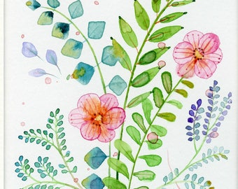 small floral original watercolor pink flowers