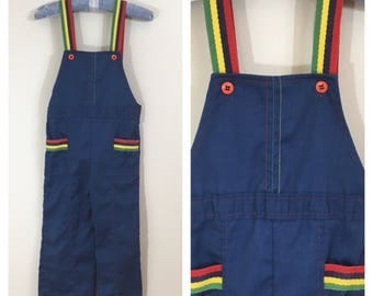 70s Girls Rainbow Navy Blue Flare Overalls, Toddler Size 3T to 4T