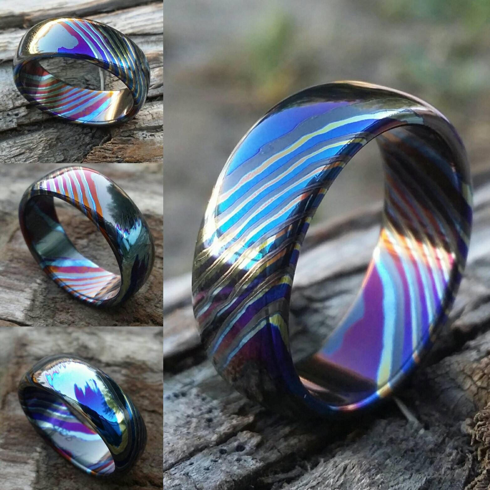 LIMITED EDITIONSolid Black Timascus zrti ring 3mm 9mm wide