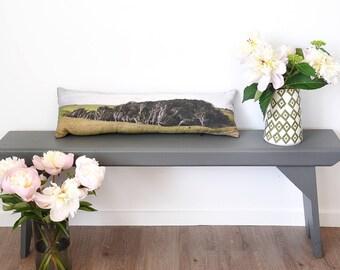 Tree cushion, lumbar cushion, photo throw cushion, Catlins New Zealand, windswept, long cushion, nature pillow, green accent pillow