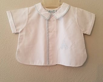 Vintage Boys White Diaper Shirt with Blue Gingham Trim and Teepee by Feltman Brothers- Size 6-12 months- Like New