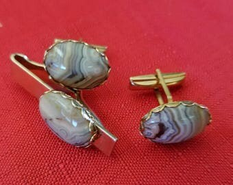 1950's Polished Agate Cuff Links and Tie Clasp