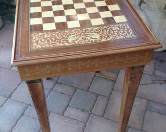 Vintage French Louis XIV Style Chess Table, Reversible Lid, Marquetry Table,  Solid Painted