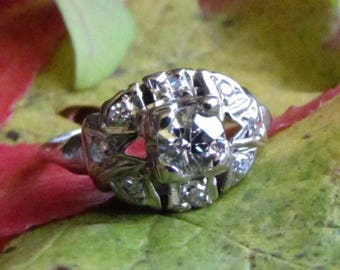 DEADsy LAST GASP SALE Antique Diamond Engagement Ring - White Gold Edwardian to Art Deco Ring with 1700s to 1800s Diamond