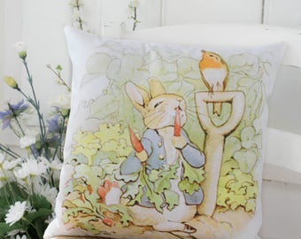 Classic Peter Rabbit Nursery Baptism Baby Chair Bed Pillow Original Illustration
