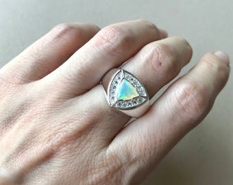 Trillion Opal Engagement Ring- Unisex Opal Ring- Halo Triangle Opal Ring- October Birthstone Ring- Sterling Silver Ring