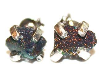 Small Black Opal Earring Raw Stud Earring Organic Earring Tumbled Opal Jewelry Raw Opal Earring Raw Black Opal Tiny Opal Stud Rustic Earring