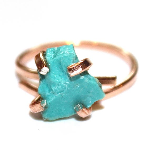 Raw Turquoise Ring in Rose Gold Vermeil