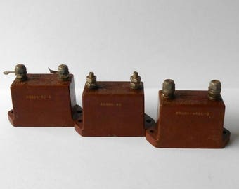 CIJ SALE Vintage Mica Transmitting Capacitors 0.002 0.001 62.5 pF Uf, 6000  5000V, 4 2 amp