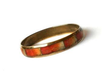 CIJ SALE Vintage red Coral and Brass Bangle Bracelet Retro