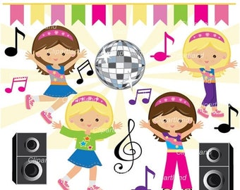 ON SALE INSTANT Download. Cd_2_Dance_party. Girl dance party clipart. Personal and commercial use.