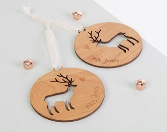 Personalised Couple's Christmas Bauble Set Wooden