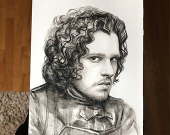 Jon Snow Watercolor Portrait Jon Snow Art Winter is Coming GOT Art Original Watercolor Wall Art 7x10