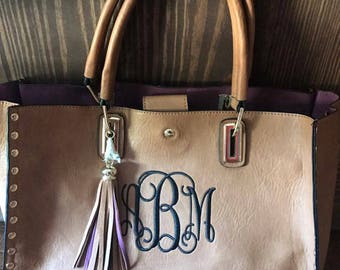 Monogrammed Bag, Monogrammed Purse, Tassel Bag, Monogrammed Carry Tote, Handle Purse