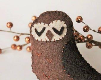 Owl ornament-Brown Handmade felt owl-Woodland decor-owl decor-Forest friends-bowlfiller-Christmas ornaments-Owl Baby shower