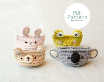 PDF. PATTERN - Cutie Animals Coin Purse, Crochet pattern | Crochet Coin Case | Small Round Pouch | Gift for Her | Pinch.