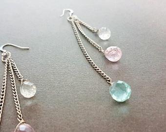 Ethnic Silver Teardrop Gem Chandelier Earrings, Beaded Earrings, Mod, Dangle, Pastel, Anthropologie Inspired, Statement, Minimal, Faceted