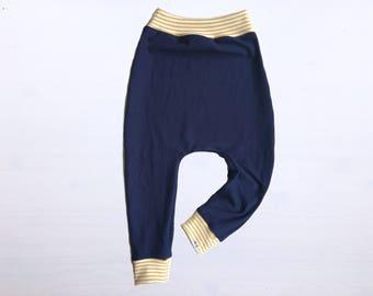 Baby Harem Pants   Grow With Me Pants   Baby Harems   Baby Joggers   Hipster Baby Pants   Toddler Harem Pants   Mustard + Navy Baby Pants