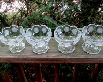 Fostoria frosted coins clear sherbets (4)