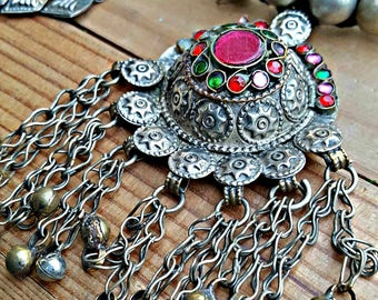 Afghan necklace- Vintage Kuchi Afghan Necklace- Turkmen Tribal Ethnic Jewelry,Glass Stone,Chained Coin Dangles,Antique crescent necklace