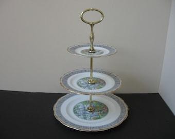 vtg royal albert bone china silver birch 3tier serving tray