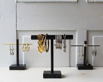 Modern Marble Jewelry Display - Bracelet Display - Earring Display in Steel or Brass - Black Marble Base - T Bar Minimalist Jewelry Display