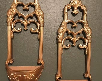 Pair of Vintage Home Interior gold ornate SYROCO WALL Pocket -  Planters - Excellent Condition