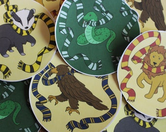 House Mascot Hand-Cut Stickers - Gryffindor, Ravenclaw, Hufflepuff, Slytherin
