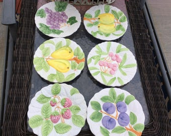 Vintage fruit du jour plates set of 6