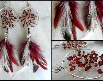 Garnet Bohemian Dream Catcher Earrings in Silver with Hand Arranged Feathers by The Emerald Lotus