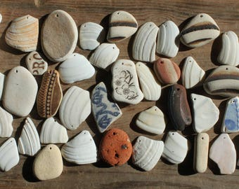shells seashells sea glass beach home decor beach pottery sea pottery top drilled craft supplies jewelry jewellery (lt654)