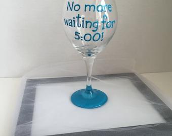 Retirement gift. Custom wine glass. Personalized retirement gift. Retirement glass. Handpainted wine glass. Personalized wine glass