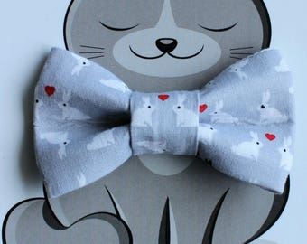 Easter Bunny Bow Tie for Cat, Dog Bow Tie, Slide on Collar Accessory, Cat Costume, Pet Bowtie, Handmade in Canada, Grey, White, Rabbit